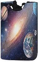 ユニバースギャラクシー宇宙ランドリーバスケットは、ギフトバスケット、寝室、衣類用のハンドル付きの大きな収納棚を妨げます
