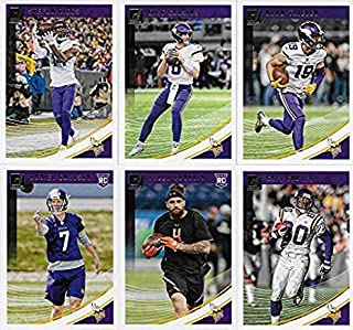 VIKINGS GIFT LOT 2019 2018 2017 + 2016 Donruss Minnesota Vikings Football Card Team Sets (4 complete sets) with over 40 cards. Includes Kirk Cousins, Adam Thielen, Adrian Peterson plus many Draft Picks and Rookies (RC), shipped in 4 brand new acrylic display cases