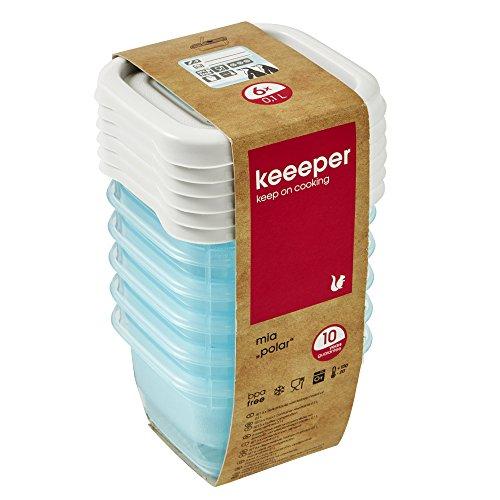 keeeper Tiefkühldosenset 6-teilig, Wiederbeschreibbarer Deckel, 6 x 90 ml, 6,5 x 6,5 x 4 cm, Mia Polar, Eisblau Transparent
