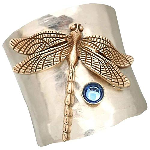 Gothic Jewelry, Vintage Retro Silver Color Ring Gold Color Dragonfly Blue Moonstone Wide Ring Boho Style Women Stone Punk Gothic Jewelry Gift