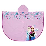 PERLETTI Mantellina Pioggia Disney Frozen - Poncho Impermeabile Bambina Antipioggia con Cappuccio e Bottoni - con Stampa Anna e Elsa - Rosa (5-7)