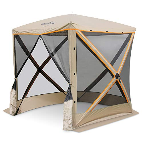 Hike Crew 4-Panel Pop-Up Screen House Gazebo 70x70 Inch – Instant Setup 4-Sided Hub Tent UV Resistant (SPF 50+) Fits 5 People Heavy Duty 210D Material – Includes Carry Bag & Ground Stakes