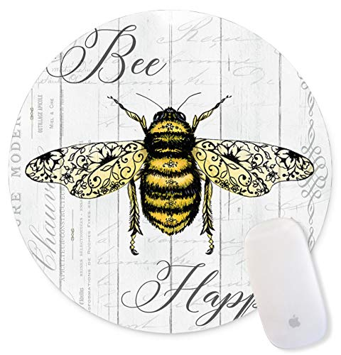Mouse Pad, Bee Animal Wood Grain Pattern Wood Art Round Gaming Mouse Pad Custom, Life is Tough But So are You Circular Mouse Pads