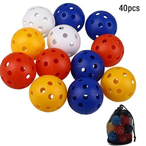 Golf-Bälle zum Üben, 40 Stück, Golftraining, Distanzbälle mit Luftstrom, bunt, perforierte Kunststoffbälle für Schwungübungen, Fahrbereich, Haustiere und Kinder