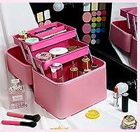 ミラーの女性の男性とのための多層化粧箱PUの美箱の特別に大きい化粧品袋-twoboxes-Pink