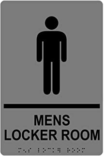 Mens Locker Room Sign, ADA-Compliant Braille and Raised Letters, 9x6 in. Gray Acrylic Plastic with Adhesive Mounting Strips by ComplianceSigns