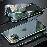 Coque pour iPhone 11 Adsorption Magnétique Housse,Conception de Style Batman Double côtés Transparent Verre Trempé Etui Métal Cadre 360 degrés Antichoc Cover Case - Vert