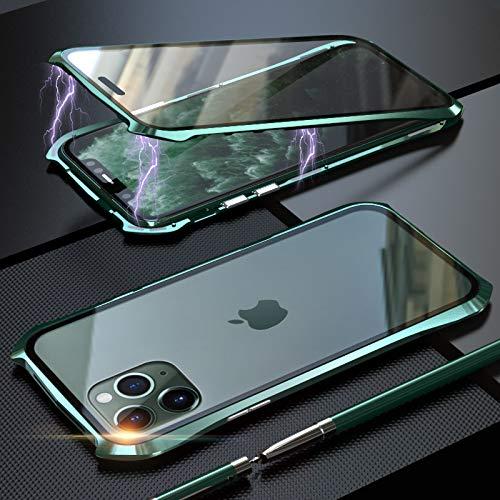 Funda para iPhone 11 Pro MAX Magnetica Adsorption Carcasa,Estilo de diseño de Batman Frente y Parte Posterior Transparente Vidrio Templado 360 Grados Choque Protección Cover Case - Verde
