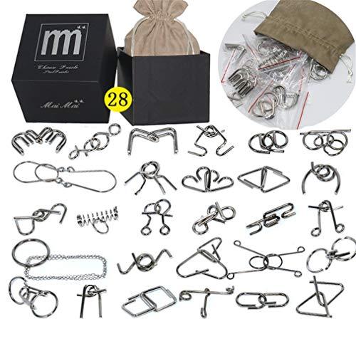 Gracelaza 28 Piezas Juguetes Mágicos de Alambre de Metal Set - 3D Rompecabezas Brain Teaser Puzzle - IQ Inteligencia Juguete Educativo - Juego Niños y Adolescentes