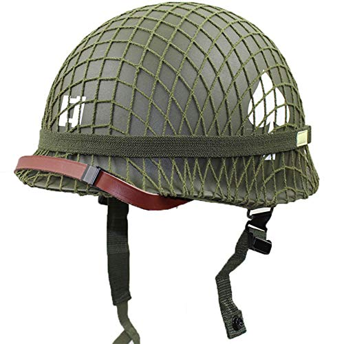 XYLUCKY Perfekte WW2 US Army M1 Green Helm Replik mit Net/Canvas Kinnriemen DIY Malerei