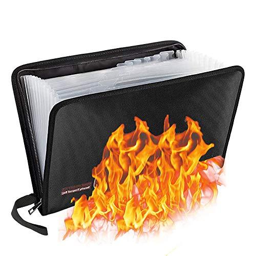 Borsa Documenti A4, Borsa Documenti Resistente Fuoco, con 13 Tasche, Cartella File Espandibile A4 con Rivestimento in Silicone Resistente Calore, per Organizza i File, 14,2 x 10,2 x 0,8 Pollici