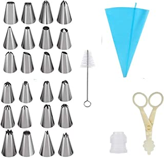 Piping Nozzles Kit - 24 Stainless Steel Icing Tip Silicone Pastry Bag Plastic Coupler Flower Lifter - Baking Supplies Frosting Tools Set