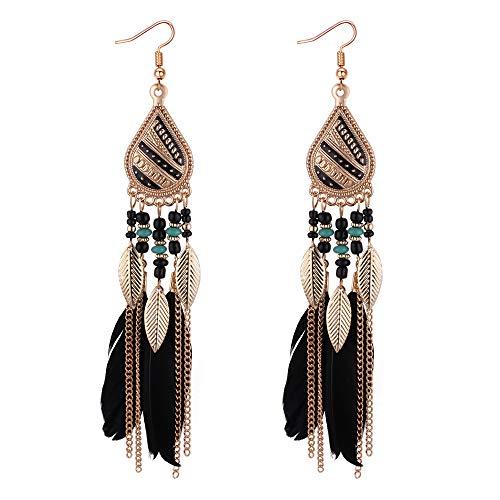 YAZILIND Ethnic Style Water-drop Feather Tassel Drop Dangle Personality Earrings Women Jewellery(Black)