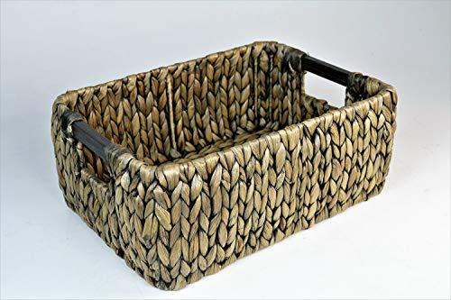 artra design GmbH FABI bewaarmand in bruin van waterhyacint met houten handvat opberghulp fruitschaal ordeningshulp deco-schaal opbergen opbergmand mand plankmand plankmand