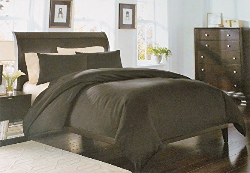 Royal Velvet Black Solid Sateen 2 Piece Duvet Cover Set 400 Thread Count Twin
