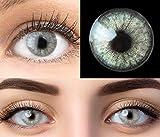 glamlens lenti a contatto colorate grigio keira grey - mensili - con porta lenti a contatto -grigie naturali in silicone idrogel - 2 pezzi - dia 14.2 - senza correzione 0.00 diottrie lente a contatto