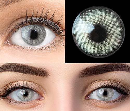 GLAMLENS Keira Gray Grau + Behälter | Sehr stark deckende natürliche graue Kontaktlinsen farbig | farbige Monatslinsen aus Silikon Hydrogel | 1 Paar (2 Stück) | DIA 14.20 | Ohne Stärke