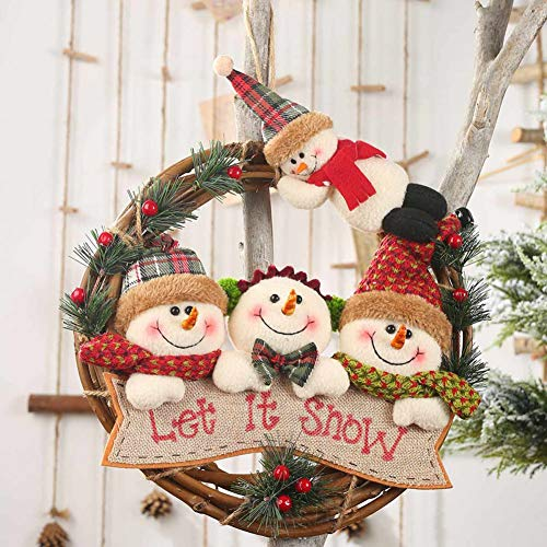 Kerst Krans Kerstmis Rotan Ring Krans Sinterklaas Sneeuwman Elk Pop Hangende Hanger Kerstboom deur Decoraties Home Decor 1