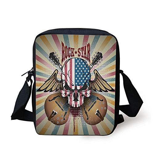 Ytavv Guitar,Retro Style Composition Angry Skull American Flag Pattern Wings Electric Guitars Decorative,Multicolor Print Kids Crossbody Messenger Bag Purse