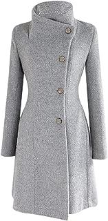 Womens Winter Lapel Wool Coat Trench Jacket Long Sleeve Overcoat Outwear