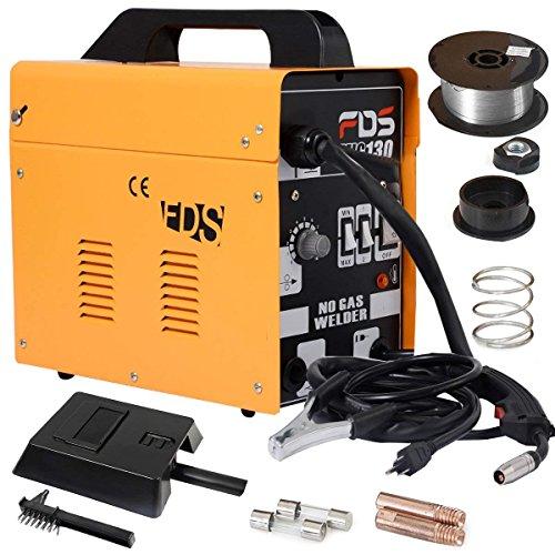 COSTWAY Máquina de Soldadura Inerte MIG 130 Electrodos Soldador (Amarillo)