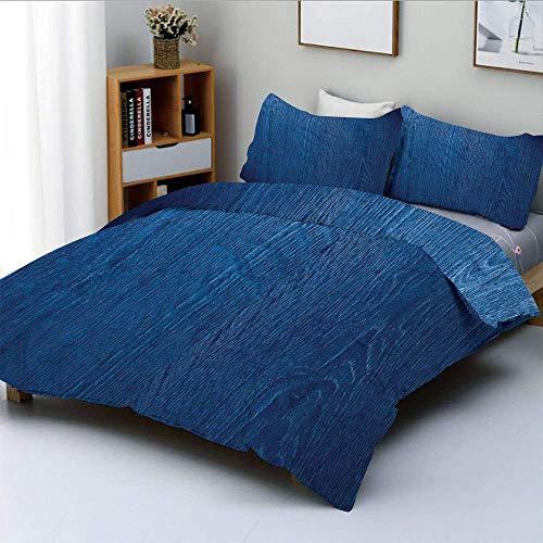 Juego de Funda nórdica, Foto de Textura de Madera de Roble Estilo Natural Vintage Artprint Decorativo HomeDecorative Juego de Cama de 3 Piezas con 2 Fundas de Almohada, Azul Real