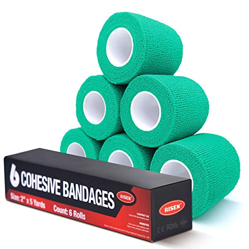 """RISEN Cohesive Bandage 2"""" x 5 Yards, 6 Rolls, Self Adherent Wrap Medical Tape, Adhesive Flexible Breathable First Aid Gauze Ideal for Stretch Athletic, Ankle Sprains & Swelling, Sports(Mint Green)"""