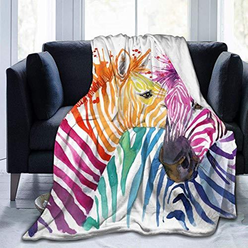 huatongxin Coperta da tiro in flanella,Cute Zebra Watercolor Divano letto personalizzato morbido Caldo sfocato leggero per Bambini adulti 50