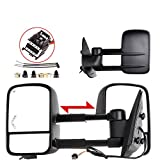OCPTY Towing Mirrors with Power Heated Lens with LED Light Left Right Side Tow Mirrors Compatible with 2007-2014 for Chevy 2007-2014 for GMC 2007-2014 for Chevy 2007-2014 for GMC
