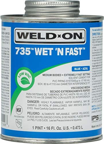 Weld-On 12496 735 Wet 'N Fast Medium-Bodied High Strength PVC Cement - Extremely Fast Setting and Low-VOC, Blue, 1 Pint (16 fl oz)