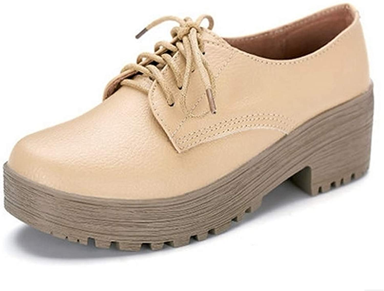 Bonrise Women's Fashion Lace-up Oxfords shoes Leather Perforated Wingtips Square-Toe Wedge Platform Oxford shoes