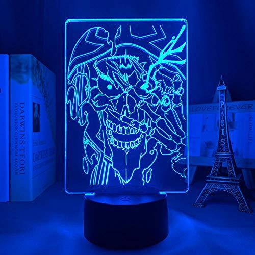 Lámpara de anime 3D Overlord Ainz Ooal vestido llevó la luz para la decoración del dormitorio luz nocturna niños regalo de cumpleaños manga noche luz habitación control remoto