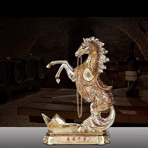 JSMY Escultura Europea Creativa Retro Caballo Estante de Vino Decoración Hogar Sala de Estar TV Gabinete de Vino Decoración Apertura Regalo Decoraciones de Escritorio Estatuas(Color:Ba)