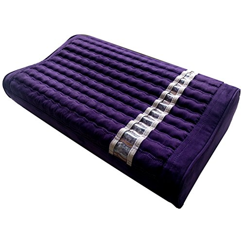 MediCrystal Far Infrared Amethyst Mat Pillow - Non Electric - Uses Body Heat - Emits FIR Rays & Healthy Negative Ions - Removable Pillowcase with Natural Healing Crystals - Gentle Support - Purple