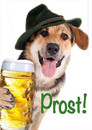 3 stuks A6 Dieransichtkaarten ansichtkaarten wenskaart herderhond Beierse hond met bier masspul