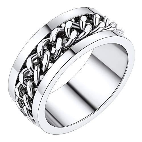 PROSTEEL Anillo Giratorio con Cadena de Acero para Mujeres Spinner Ring Talla 12 Circunferencia 51.9mm