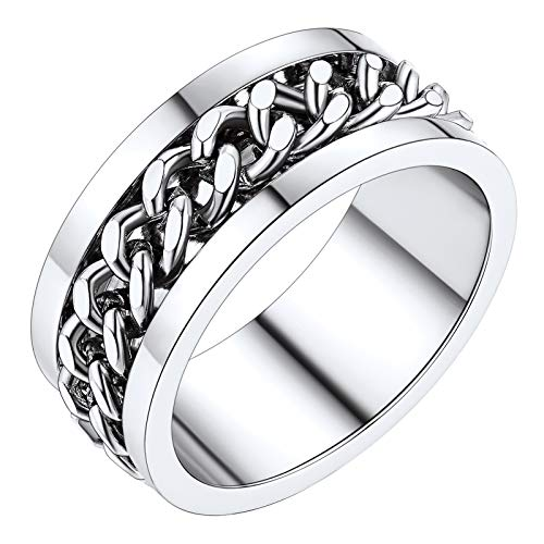 PROSTEEL Big Rings for Men Size T 1/2 Stainless Steel Metal Cuban Link Rings