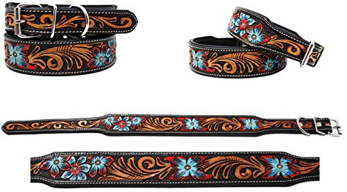 CHALLENGER Medium 17''- 21'' Added Amish 100% Cow USA Leather Dog Collar Tooled 60FK13