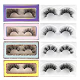 Lanflower Mink Lashes Natural Look Fluffy Volume 3D Eyelashes with Reusable Portable Boxes 4 Pack