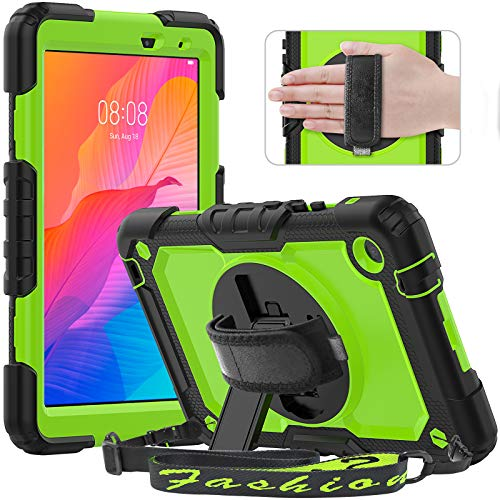 Timecity Case for Lenovo Tab M8 8 inch HD 2nd Gen/Tab M8 FHD 2019, Shockproof Tablet Case with Screen Protector, 360° Rotating Stand, Hand/Shoulder Strap and Pencil Holder for Lenovo Tab M8, Green