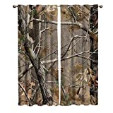 Window Panel Curtain Sets, Real Camouflage Trees Home Drapes Decor for Living Room Kitchen Bedroom, 27.5 by 39 Inch Set of 2 Panels 1 Pair Curtains