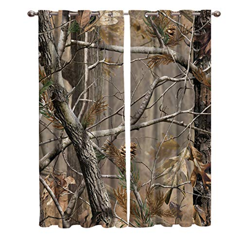 FortuneHouse8 Blackout Curtains Thermal Insulated Real Camouflage Tree Room Drapes Window Curtain for Bedroom Living Room Set of 2 Curtain Panels Home Fashion 52x84inch