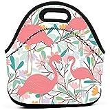 Patrón de bolsas de almuerzo de pájaro flamenco en vector tropical Bolsa de...