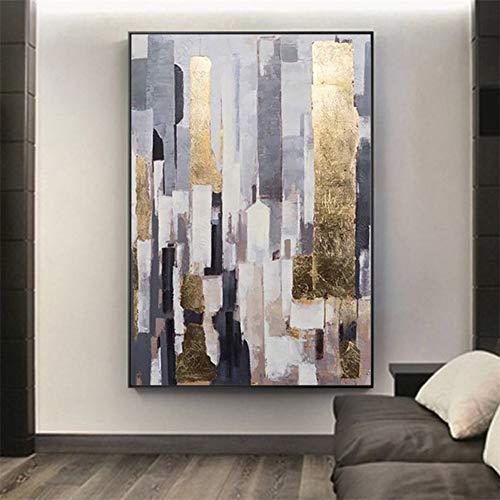 MLSWW Lienzo de Pintura Decorativa Pintura al óleo Pintura Moderna Gran tamaño Arte Abstracto Lienzo Dorado Pintado a Mano para decoración del hogar Cuadros Arte pared-60x80cm