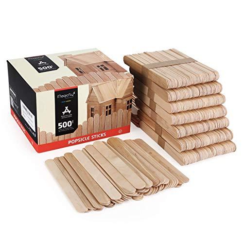 Magicfly Eisstiele aus Holz, 500 Stück Holzstäbchen Holzspatel Größere Abmessungen 150 x 18 x 2 mm Popsicle Sticks zum Basteln