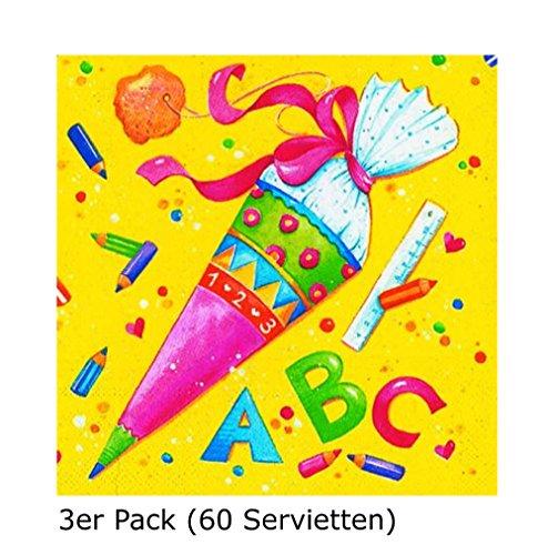 Paper + Design 60 Servietten Schulanfang/Einschulung (3er Set, Servietten)