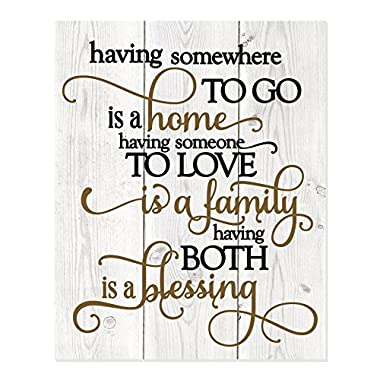 Having Somewhere To Go Is A Home Someone To Love Is Family Both Is A Blessing Wall Sign 12x15