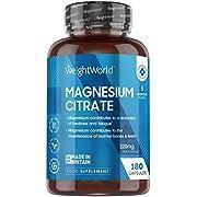 Magnésium Citrate 740mg - 180 Gélules Vegan (6 mois) - Contient 220 mg de Magnésium Elémentaire Hautement Biodisponible - Réduit la Fatigue, Equilibre les Electrolytes - Convient aux Sportifs