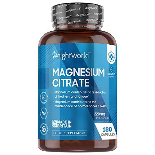 Citrato de Magnesio 740mg, 180 Cápsulas Vegano - 220mg de Magnesio Puro de Alta Biodisponibilidad, Suministro para 6 Meses, Reduce Cansancio y Fatiga, Equilibra los Electrolitos. Suplemento Deportivo