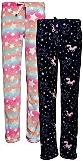 Image of Comfy 2 Pack Fleece Stars and Unicorn Pajama Pants for Girls - See More Designs